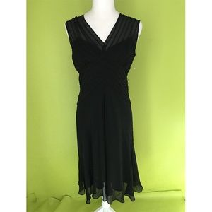 Jones New York Sheer Bead Silk Evening Dress 8